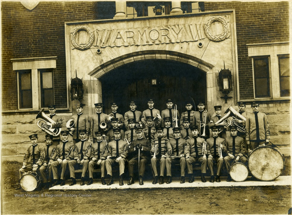 Corps of Cadets Band in front of the now demolished WVU Armory. As director, Mestrezat appears front and center.