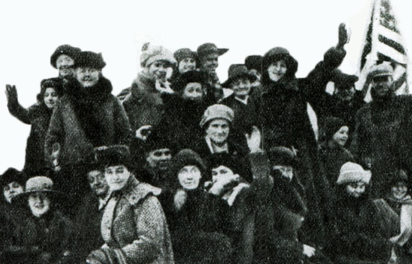 "The ""Ladies of Lisle"" arrive at the Village Hall to vote, January 5, 1918."