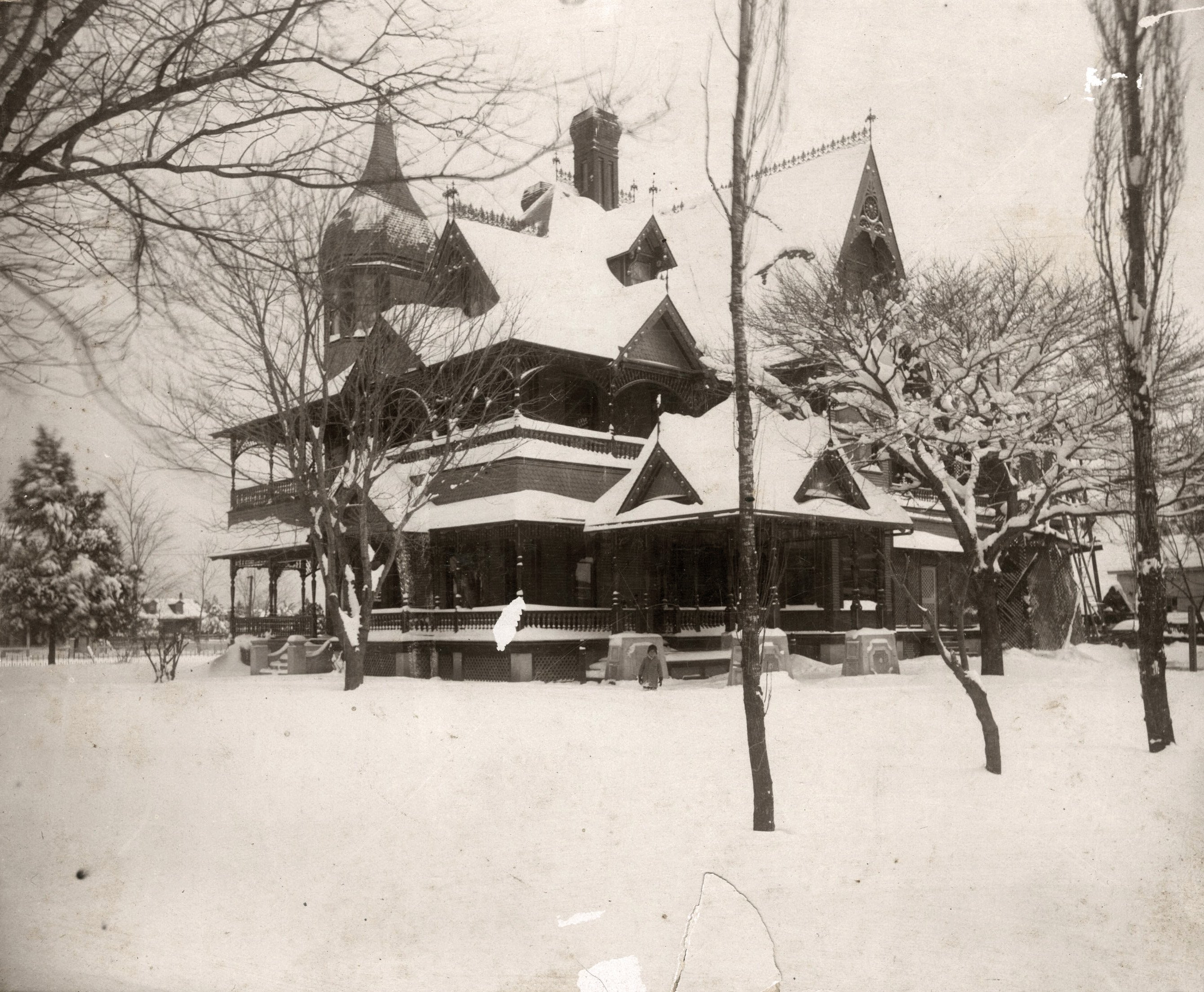 Earliest known photo of the Stark House, taken during the February snowstorm of 1895.
