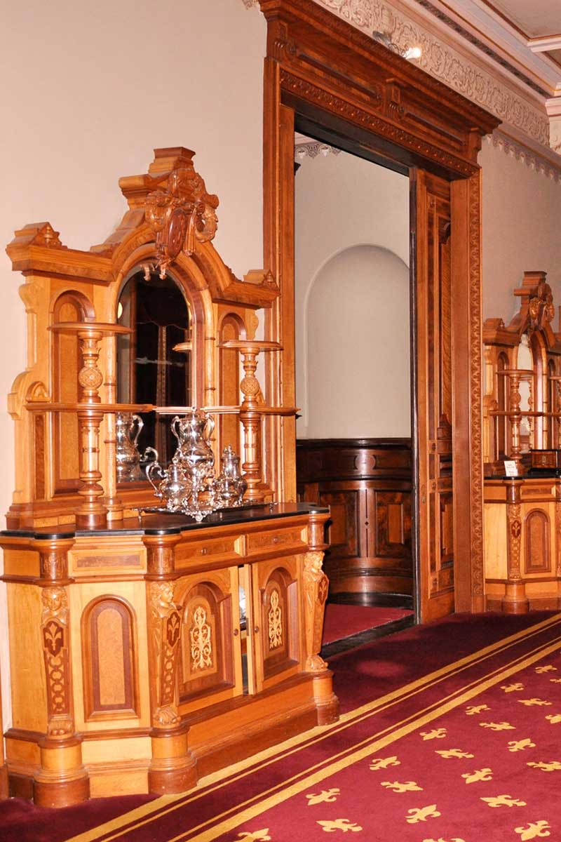The cabinetry of the Dining Room
