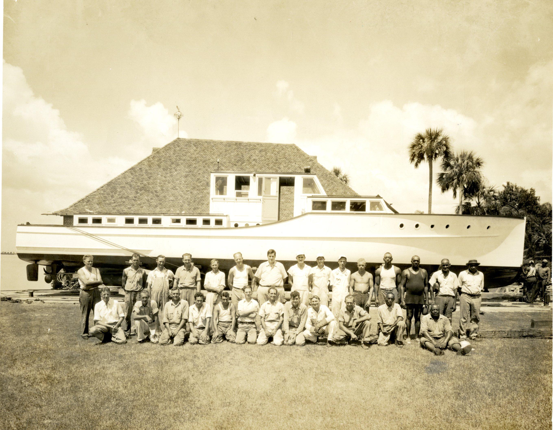 Crew building Donald Roebling's yacht, Dunedin, Florida, circa 1935.