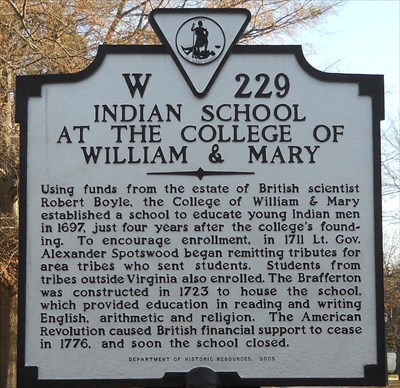 Historical marker for the college's Indian School. Image obtained from waymarking.com.