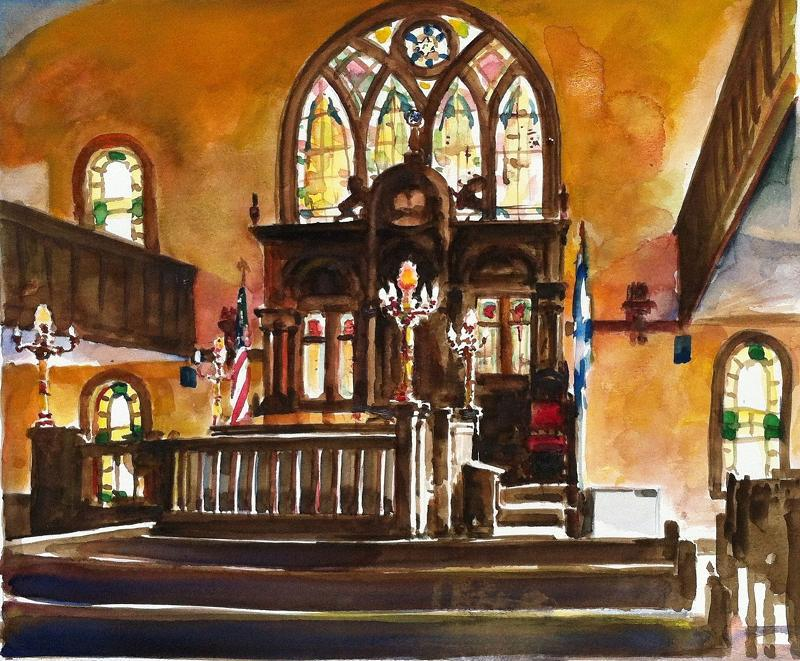 A painting of the interior of Etz Chaim by artist Rush Brown, provided by the Etz Chaim Official Facebook Page