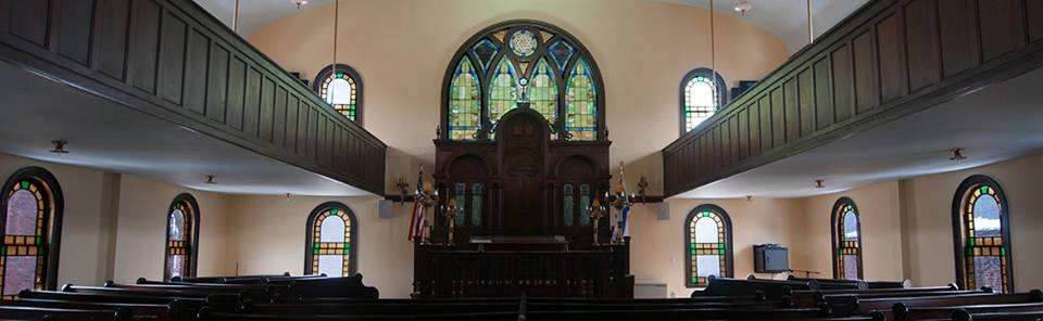Interior panoramic photograph of Etz Chaim Synagogue, provided by the Etz Chaim Official Facebook Page