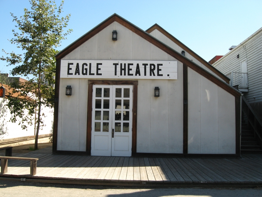 A modern-day view of the Eagle Theatre, which has been constructed as closely as possible to the original--though the structure underwent several remodels in its short life.