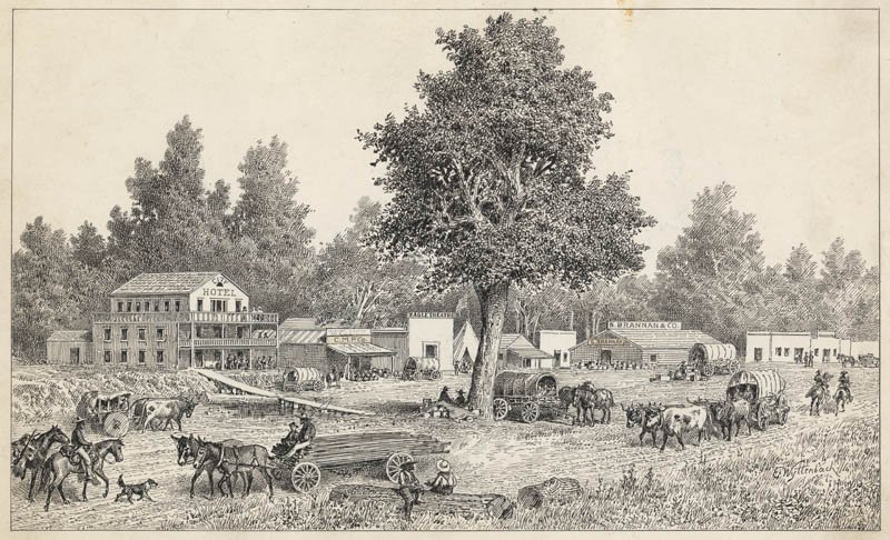 An early view of the busy Sacramento waterfront. The Eagle Theatre is just to the left of the large tree in the center of Swiss-born artist Emanuel Wyttenbach's drawing.