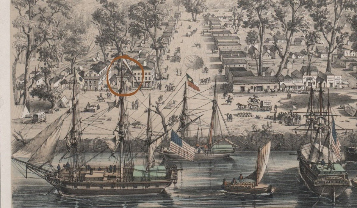 A cropped view of Sacramento extracted from a lithograph by French painter and naval surgeon Louis LeBreton. The Eagle Theatre (circled) is partially hidden behind the mainmast of the vessel at far left. J Street runs down the center of the image.
