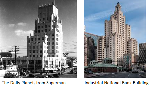 "Comparison between the ""Daily Planet"" as seen on Superman and the Industrial National Bank Building."