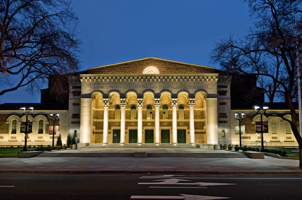 The Memorial Auditorium has unique architectural features inspired by medieval Europe and the Byzantine Empire.