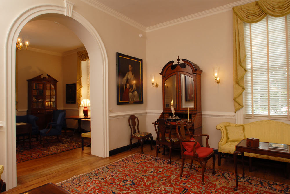 The public rooms on the first floor contain many antiques gifted to the college over the years. Image obtained from Daniel & Company.