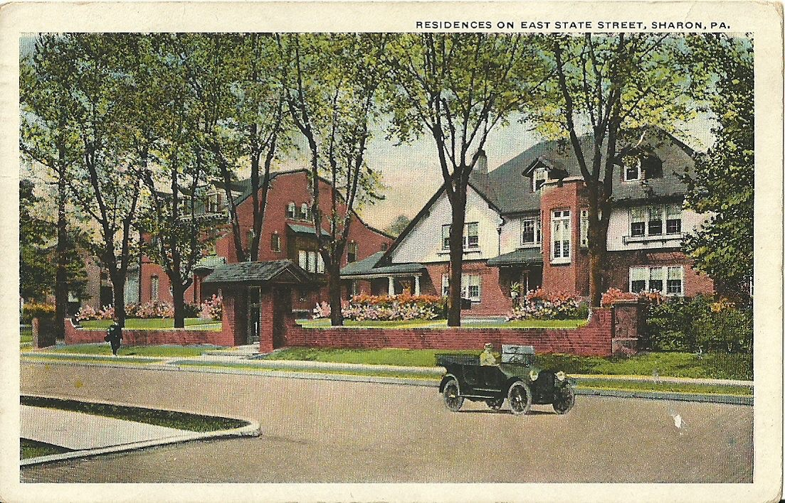 Postcard view of the Minnie Bachman and Kranz Mansions on East State Street in Sharon PA