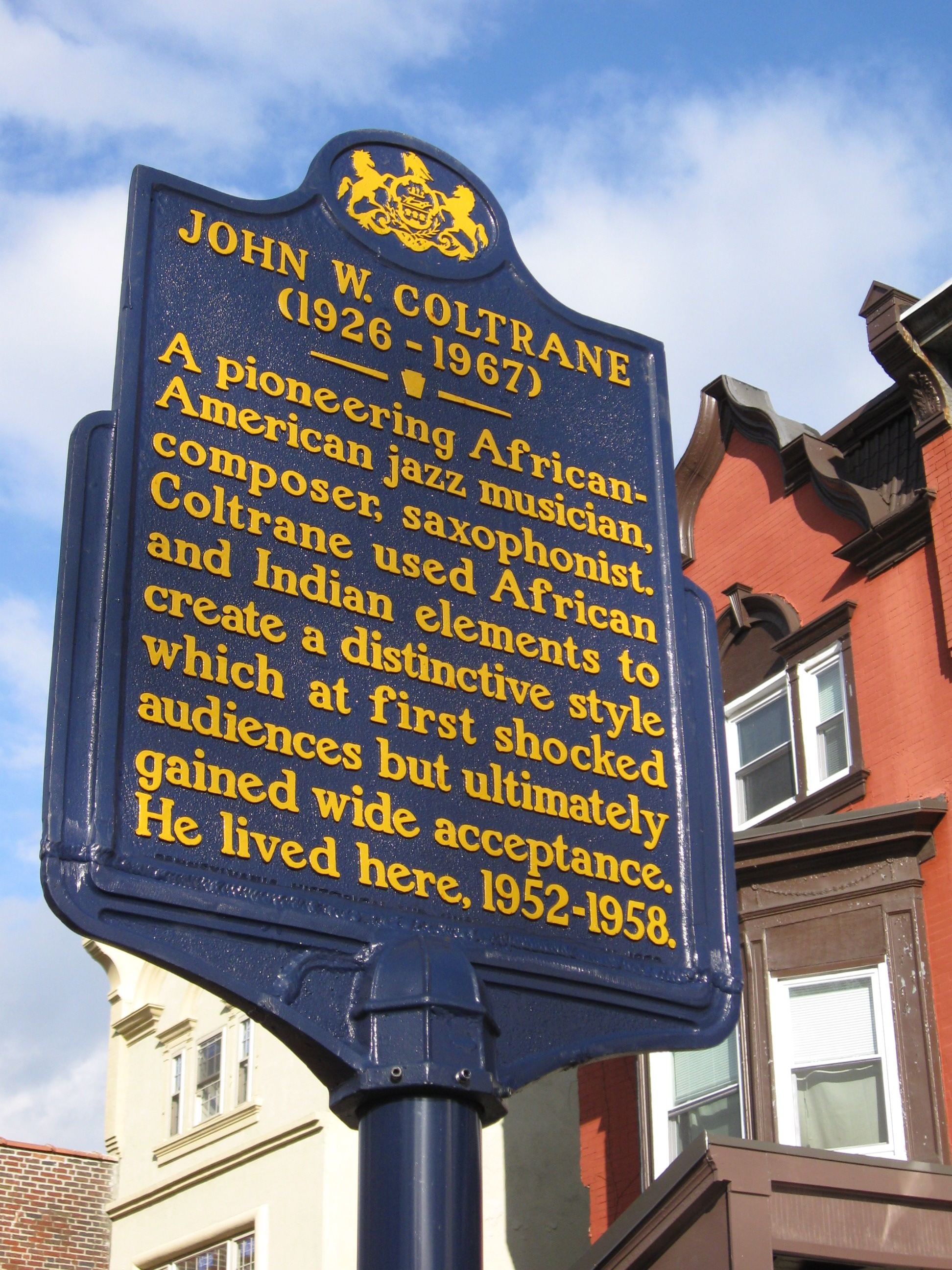 The historical marker placed in front of Trane's former home after it was designated a National Historic Landmark in 1999.