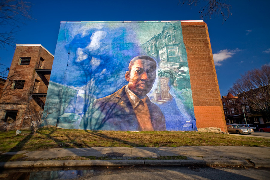 This Coltrane mural is located five blocks from his former home in the Strawberry Mansion neighborhood.