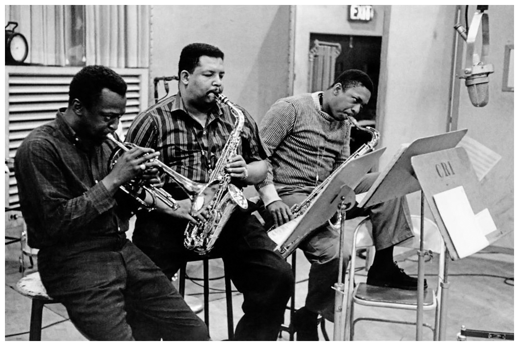 """From left to right, Miles Davis, """"Cannonball"""" Adderley, and John Coltrane in the recording studio...not a bad jazz trio."""