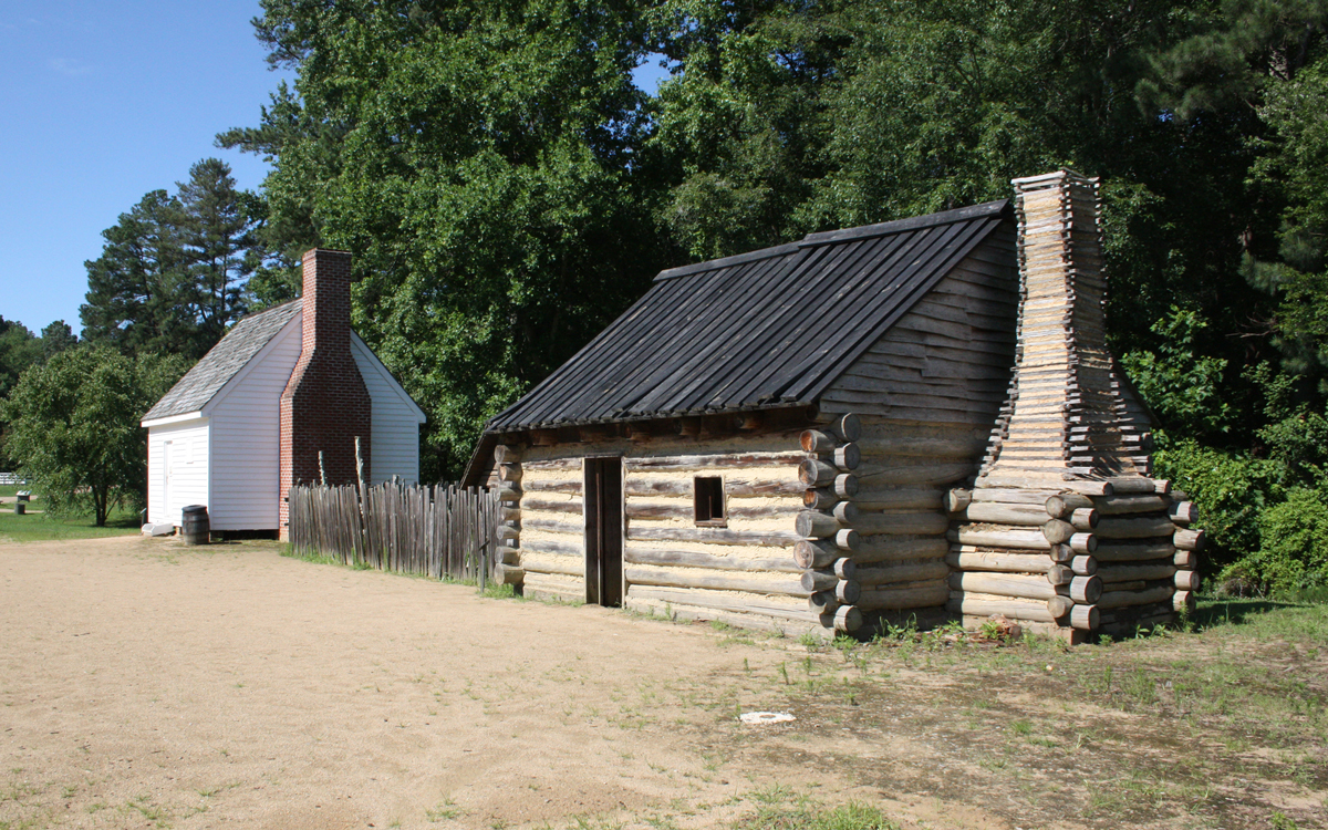 The reconstructed slave quarters on the Tudor Hall property.