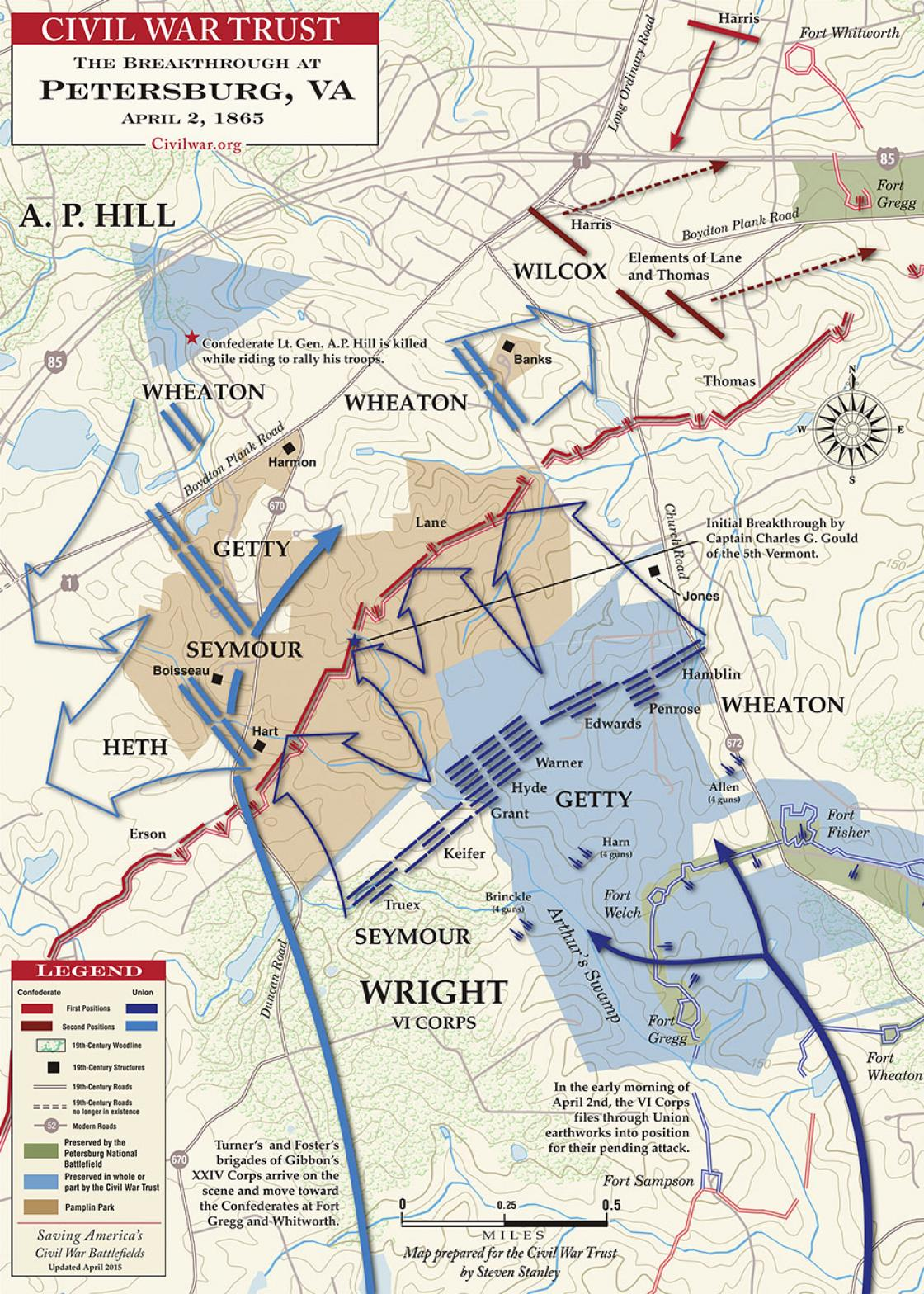A map of the Breakthrough at Petersburg,  which occurred on April 2, 1865, which led the Confederates to abandon Petersburg and Richmond. Courtesy the Civil War Trust.
