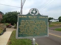 The sign outside the Burns-Belfry Church