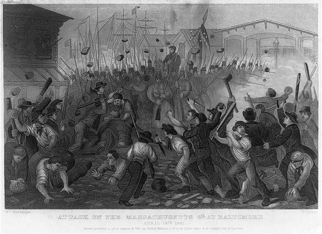 """Steel engraving created c. 1862: """"Attack on the Massachusetts 6th at Baltimore, April 19, 1861.""""  The Howard County Dragoons, some of whom are remembered on the Ellicott City monument, fought to restore order during this riot."""