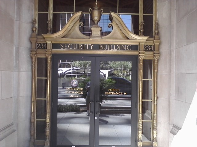 A Security Building entrance.