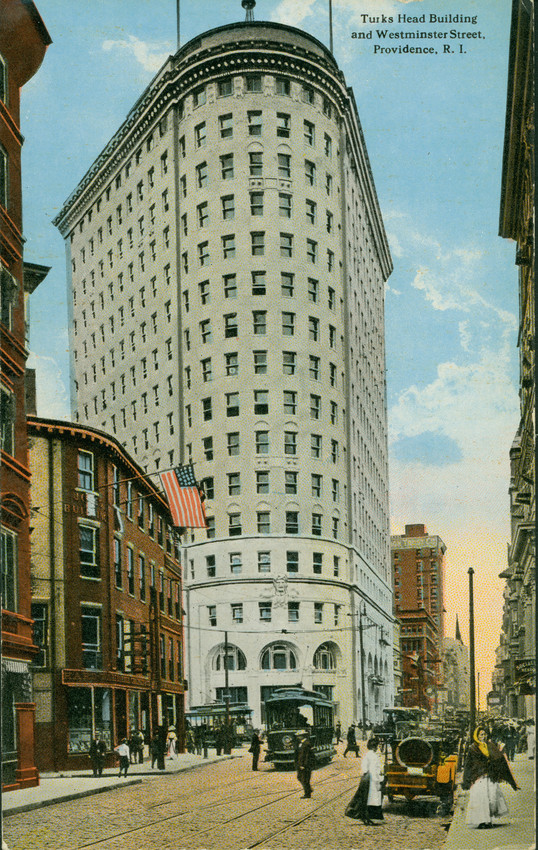 Postcard featuring the Turk's Head Building (Courtesy of Historic New England)