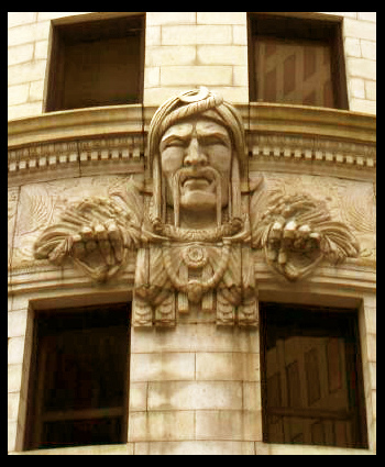 Close-up of the Turk's Head which adorns the front entrance.