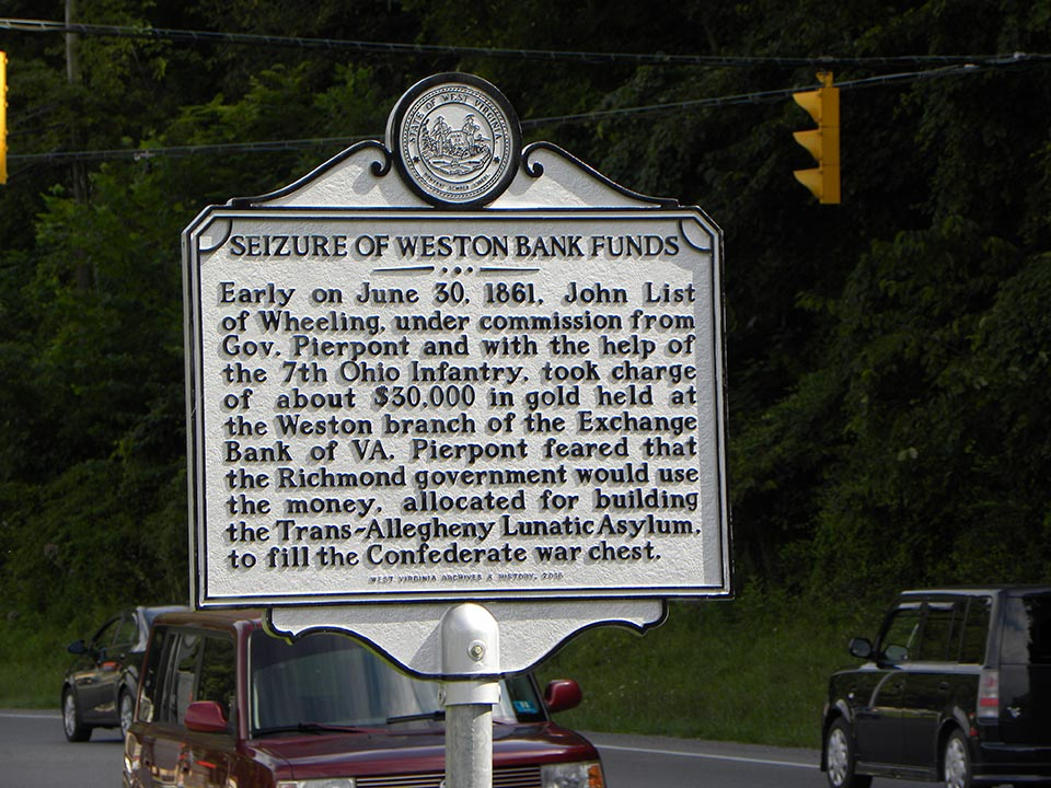 Seizure of Weston Bank Funds Highway Historical Marker