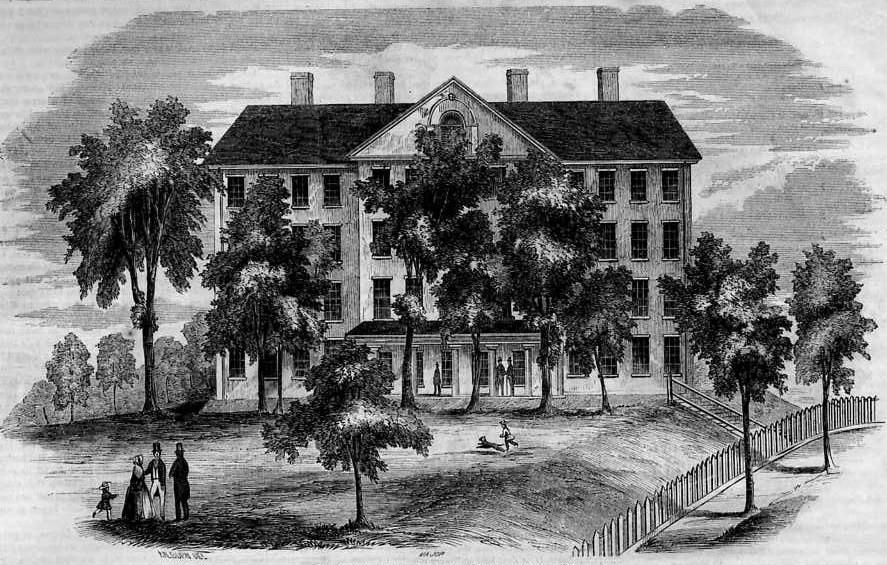 "The Bangor Theological Seminary as pictured in an engraving that was published in December of 1853 in ""Gleason's Pictorial Drawing-Room Companion.""   Public domain photograph provided by Wikimedia Commons."