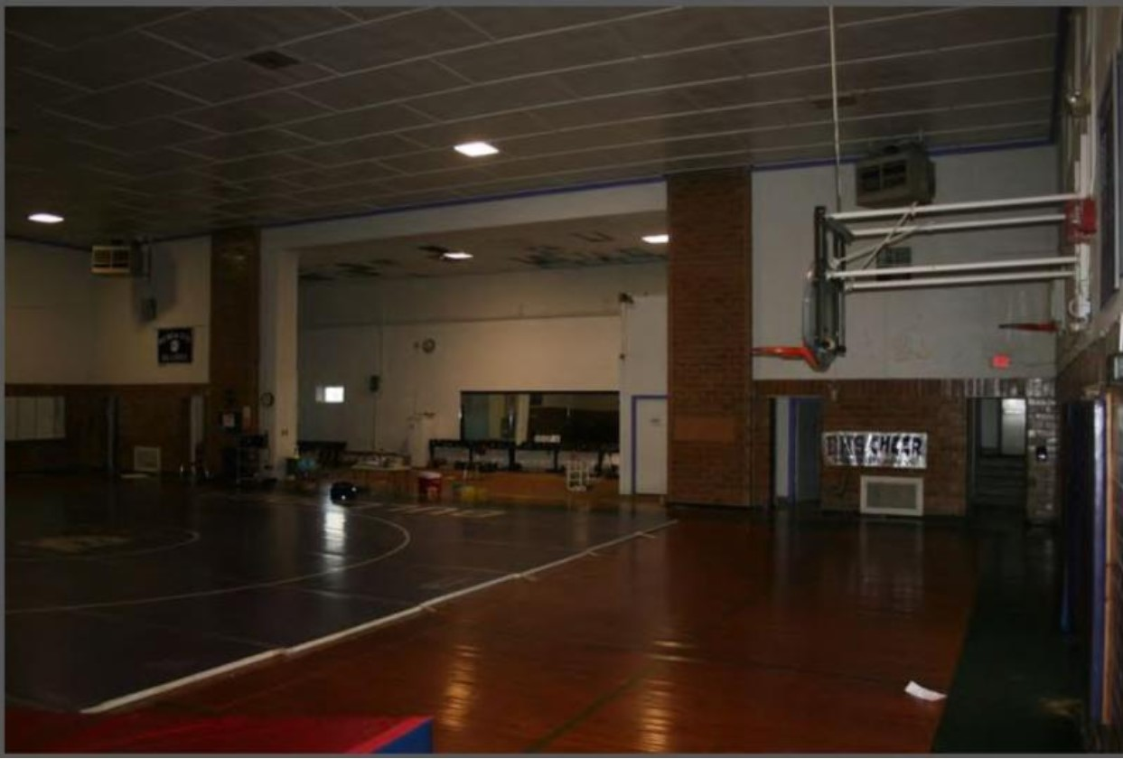 Interior photograph of Old Baldwin City Gymnasium by Stan Hernly in 2013 (KSHS)