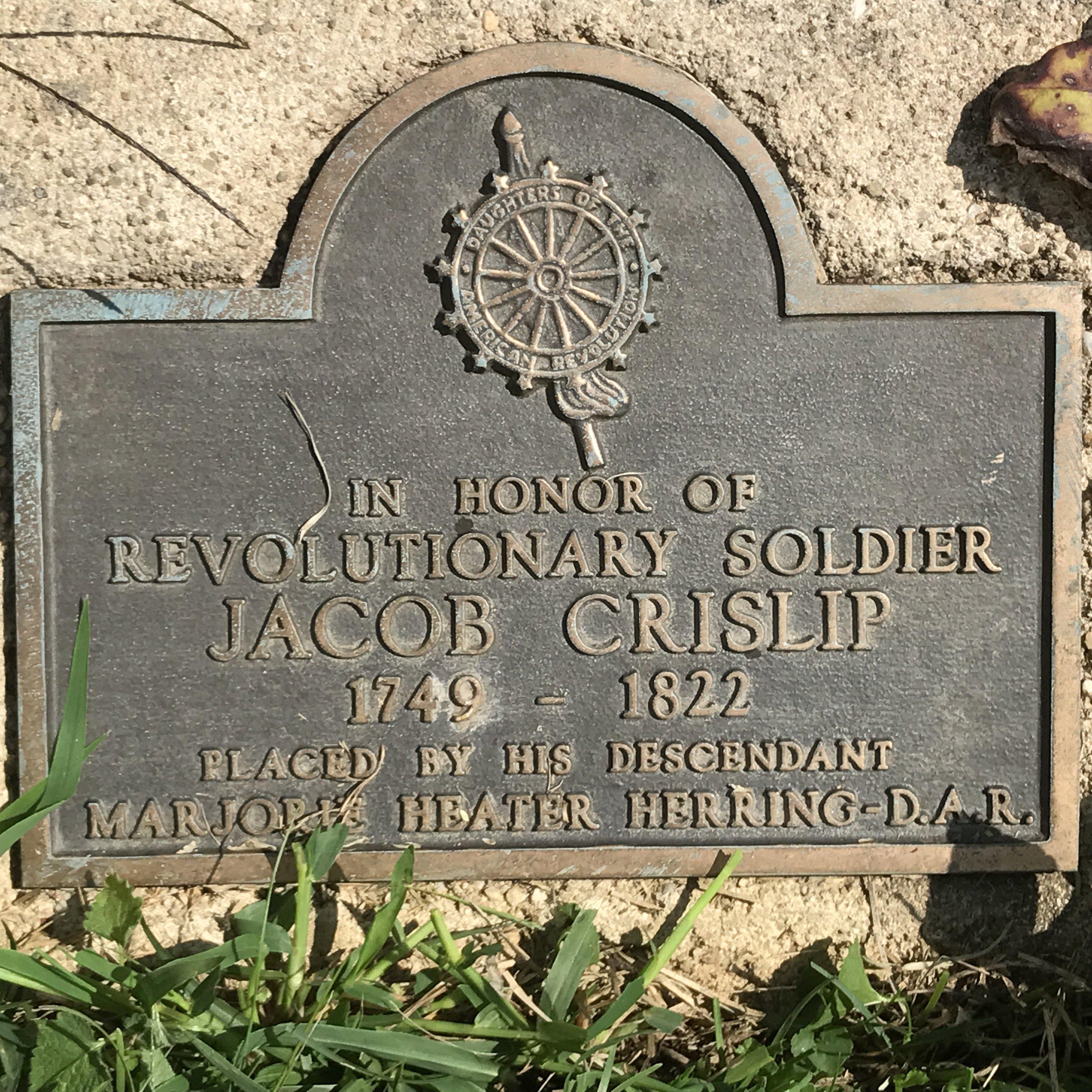 Memorial plaque for Jacob Chrislip (Crislip) at gravesite