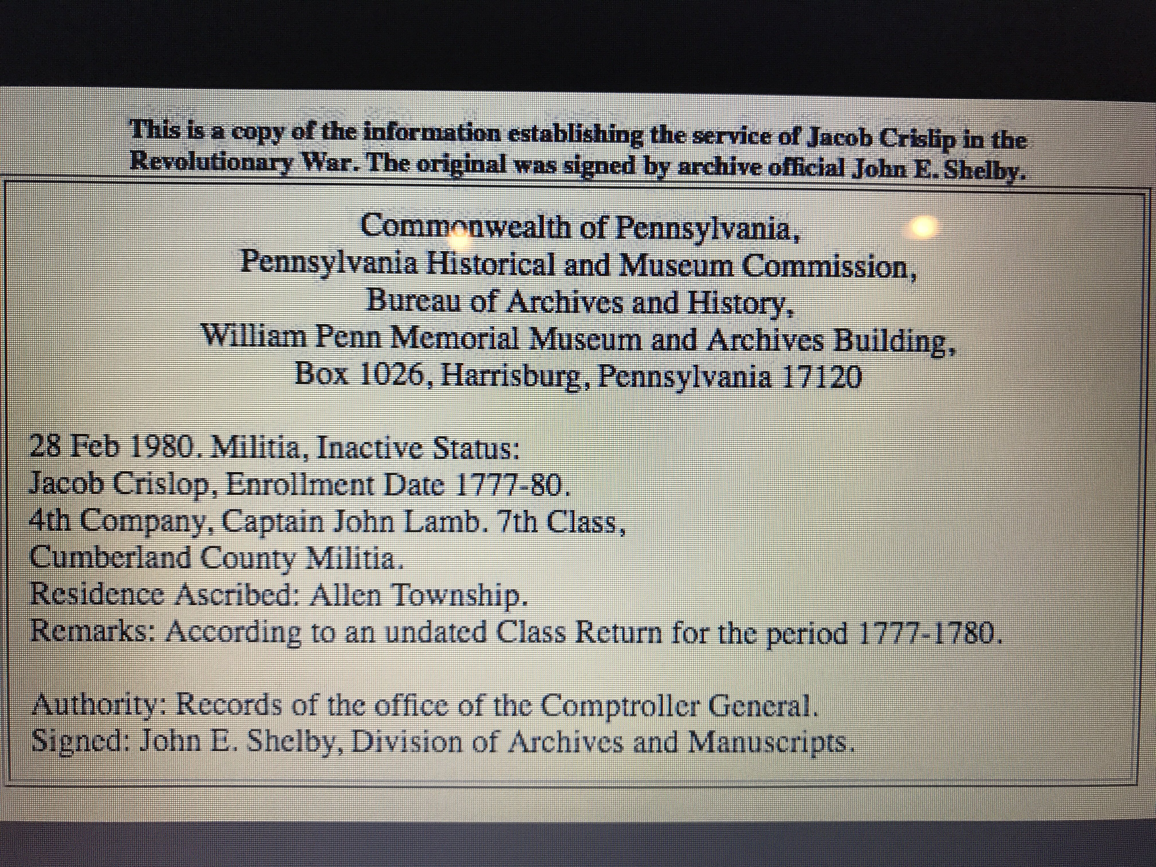 enlistment record for Jacob Chrislip Union soldier Revolutionary War