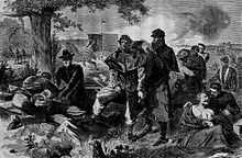 Surgeon completing duties during Civil War.