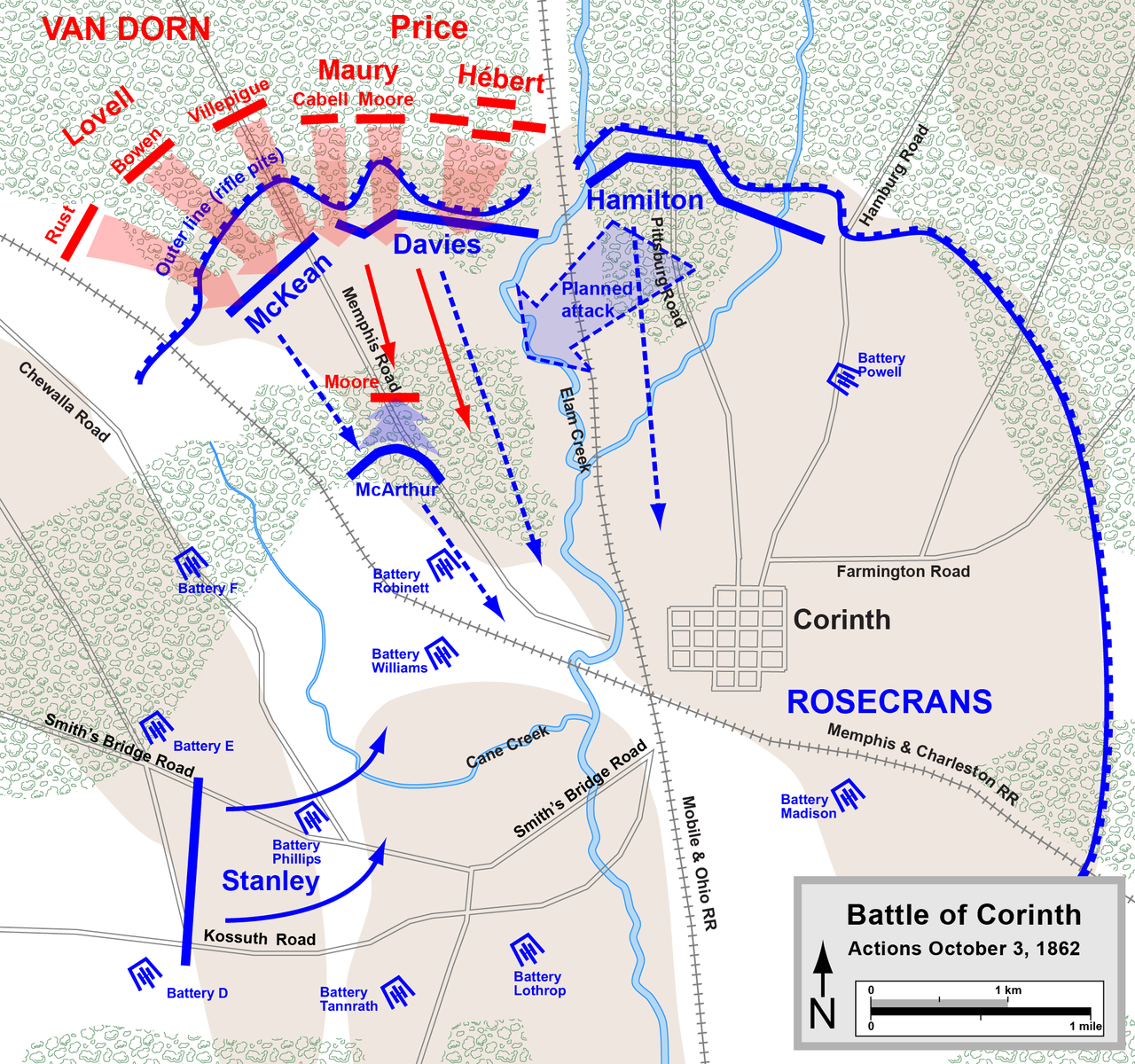 Map of the battle as it occurred on October 3rd.