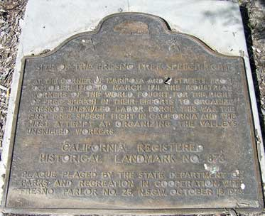 This historic marker commemorates the history of the struggle between labor and management.