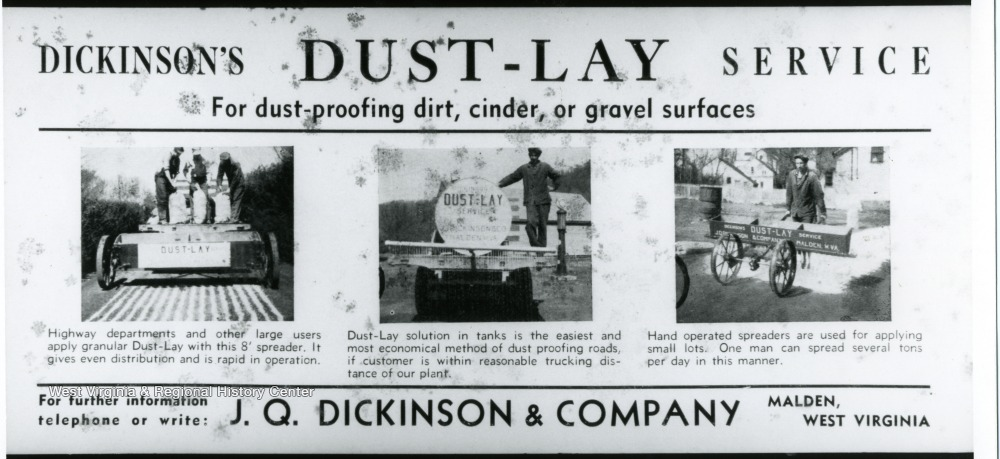 Dust-Lay advertisement for J.Q. Dickinson and Co.