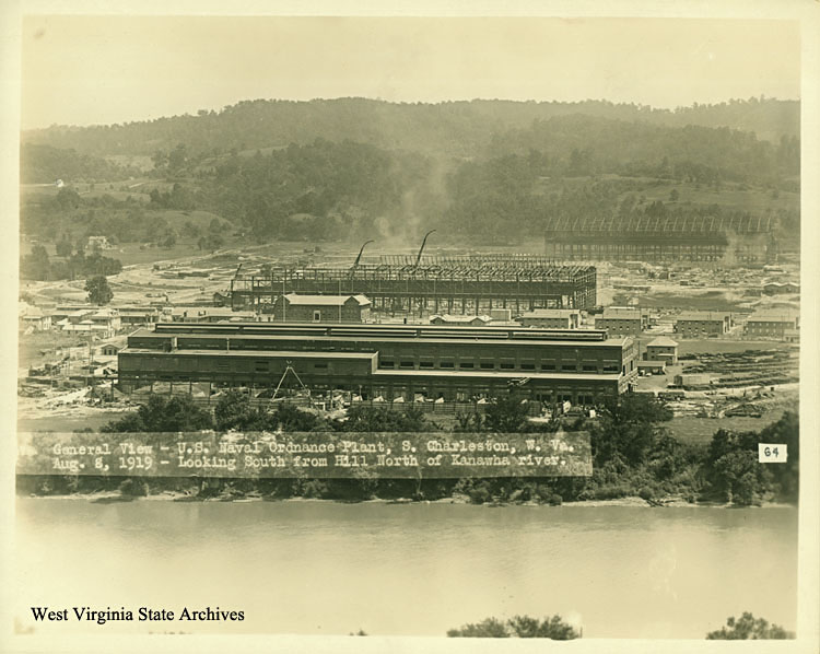 "Another view of the North Unit, August 8, 1919, looking southward across the Kanawha River. The ""Projectile Plant"" in foreground was by then operational, though the Armor Plant in the background was not completed until 1921."