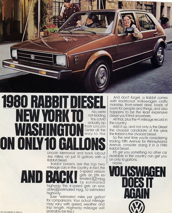 Ad for a 1980 VW Rabbit. Metal parts for the Rabbit were stamped at the Ordnance Center when Volkswagen leased building 307 in 1979, taking over a lease from American Motors Corporation. VW moved out of the NOP in 1987.