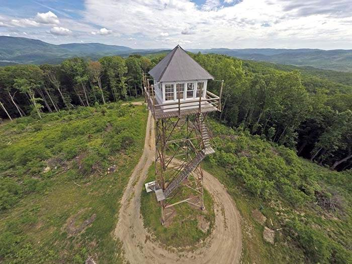 Aerial View of Thorny Mountain Fire Tower.