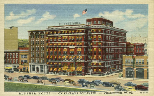 A 20th-century view of the Ruffner Hotel. Note that many of the Victorian flourishes are gone, replaced by a more modern silhouette.