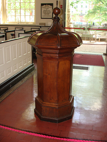 The 14th century baptismal font used to baptize William Penn.
