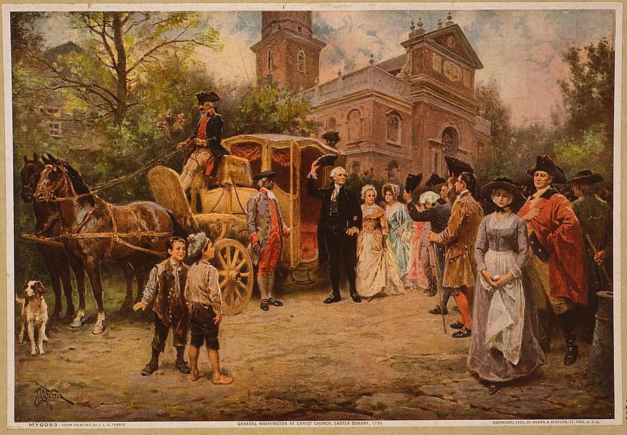 "J. L. G. Ferris' ""General Washington at Christ Church"" from c. 1908."