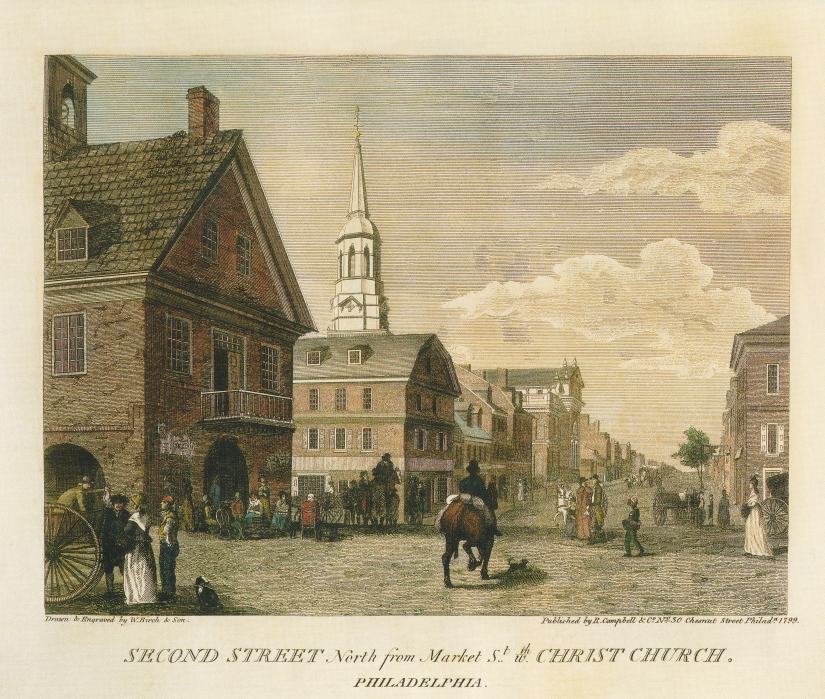"An 1800 view of Christ Church as drawn in a plate from ""Birch's Views of Philadelphia."""