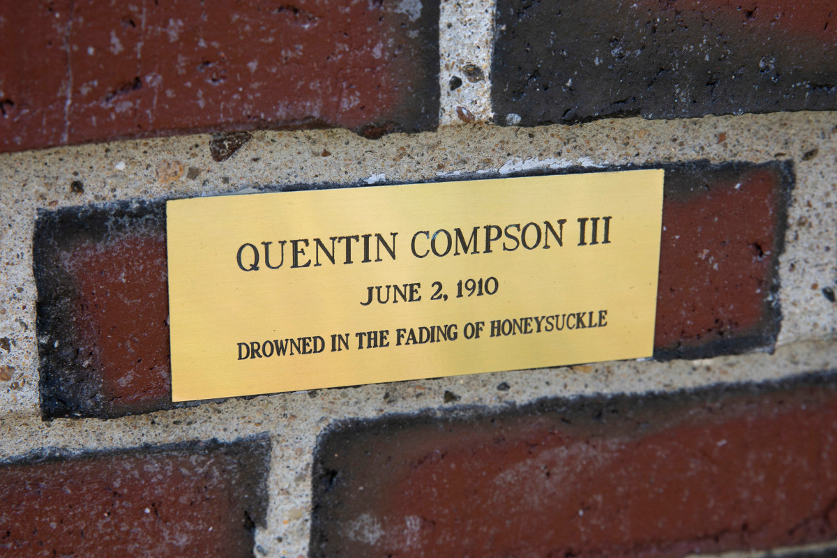 The most recently restored plaque with original wording, commemorating Faulkner's character Quentin Compson