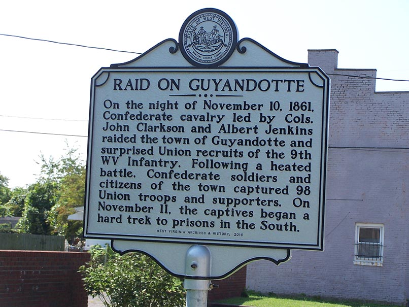 Historical marker for the Raid on Guyandotte
