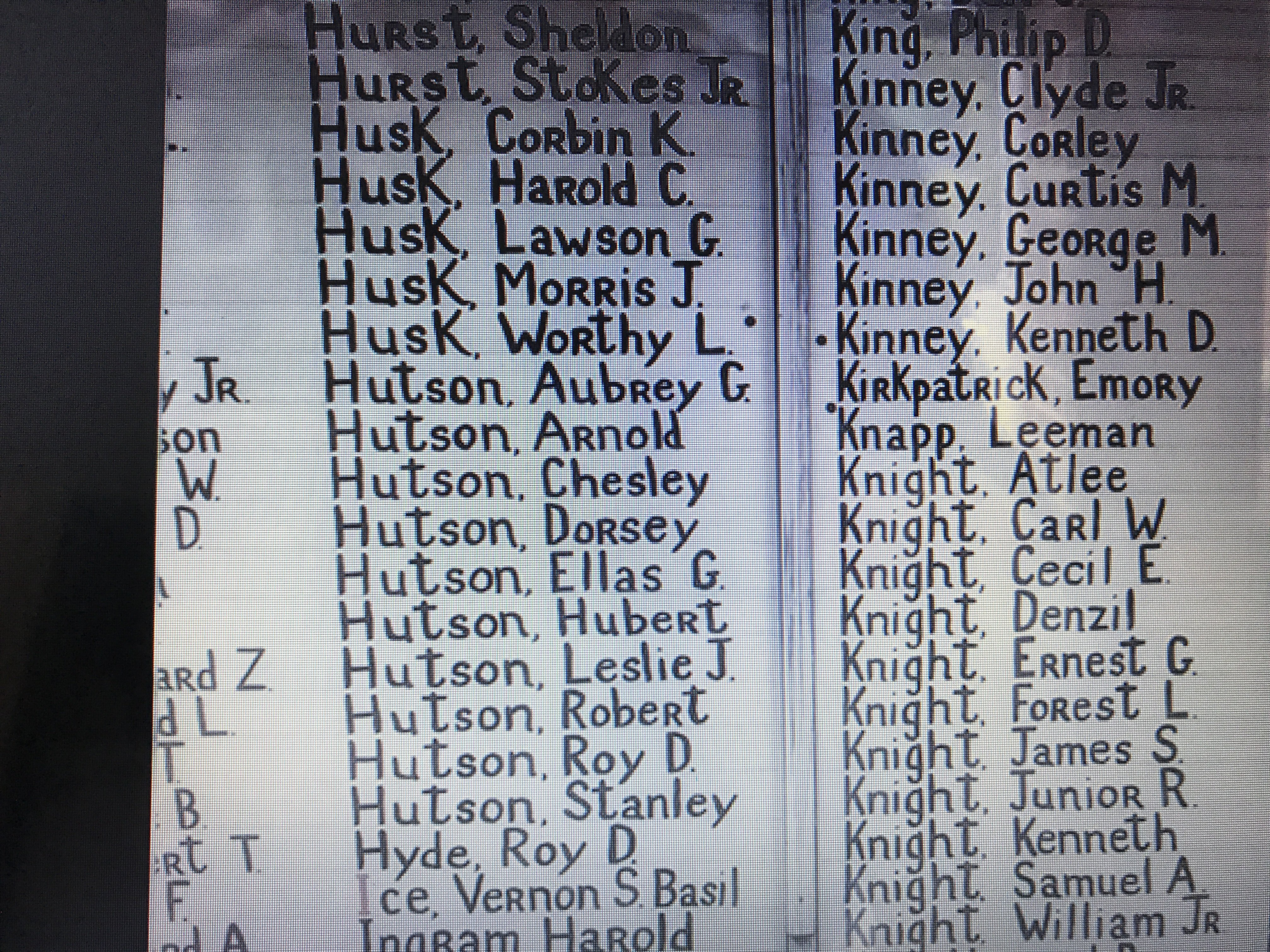 A few of the handwritten names on the Honor Wall