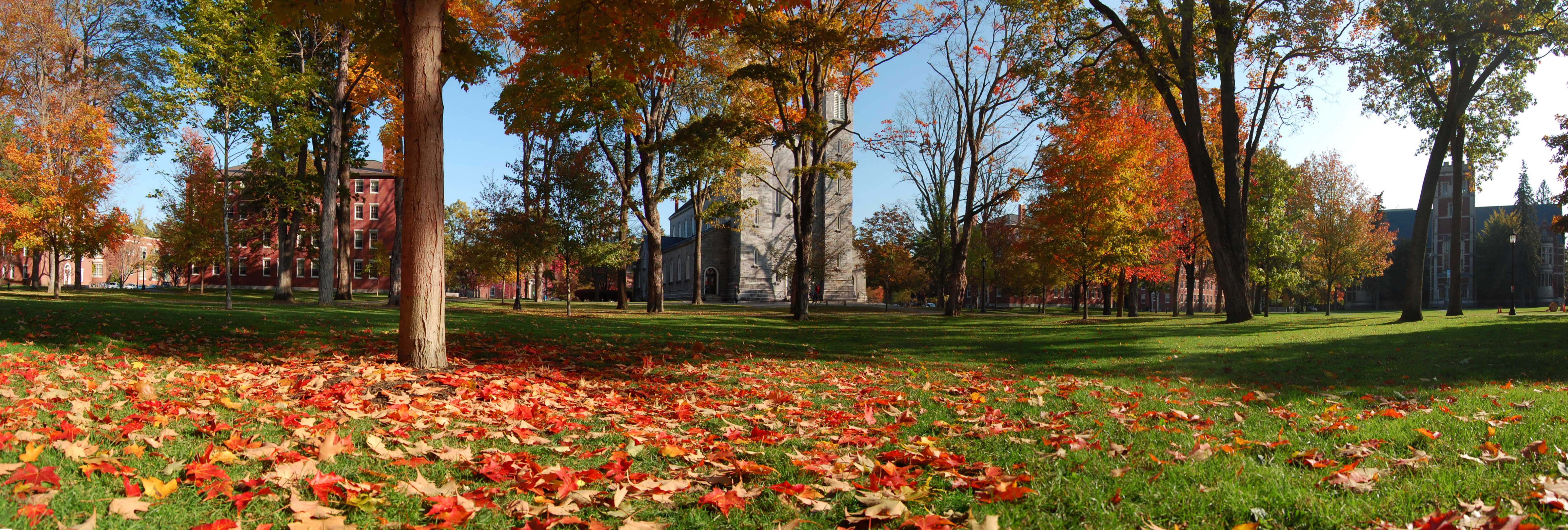 The Bowdoin College Quad in October in 2009, by user ilove2run of Wikimedia Commons