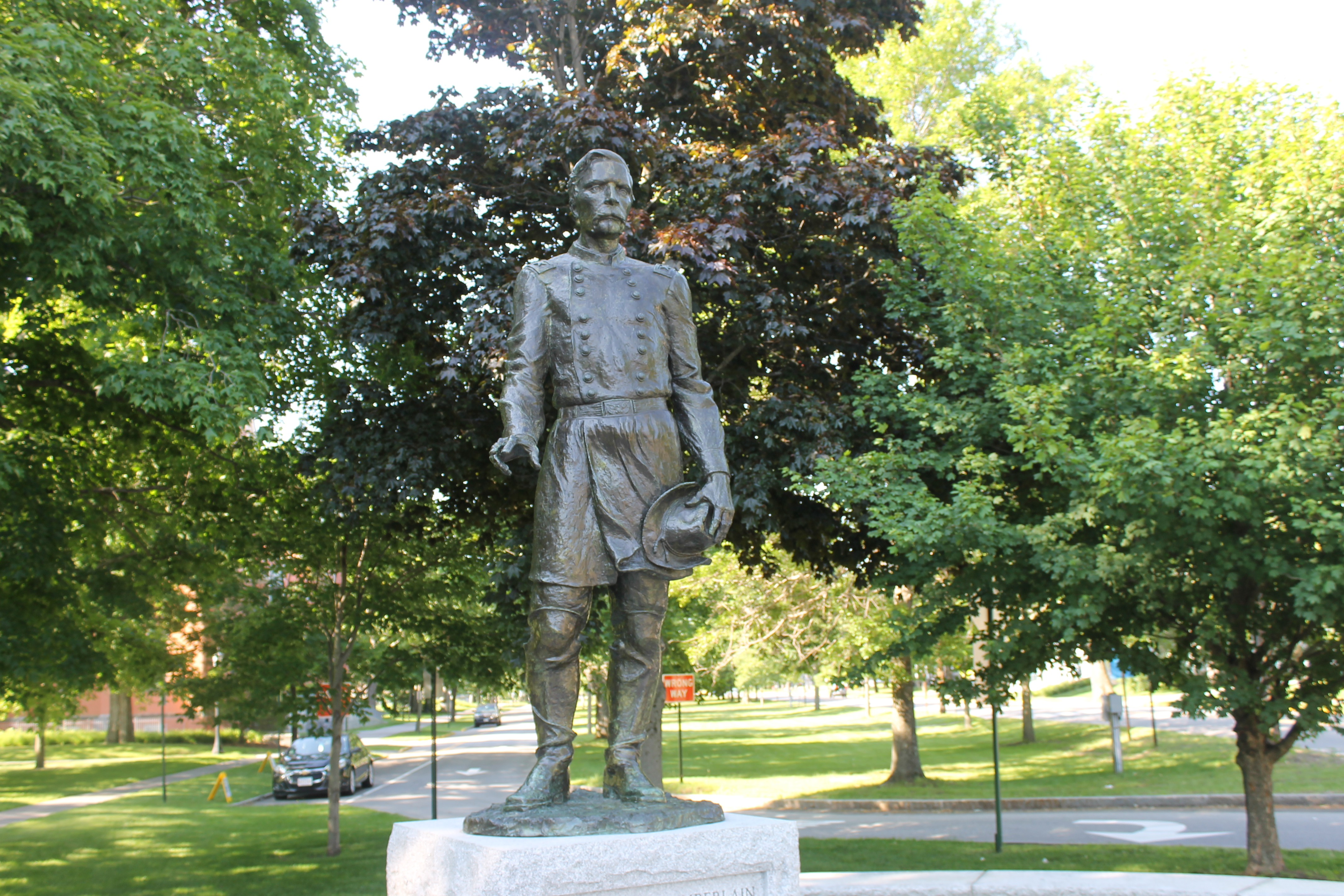 A famous statue of Joshua Chamberlain on the Bowdoin campus, photograph by Billy Hathorn of Wikimedia Commons