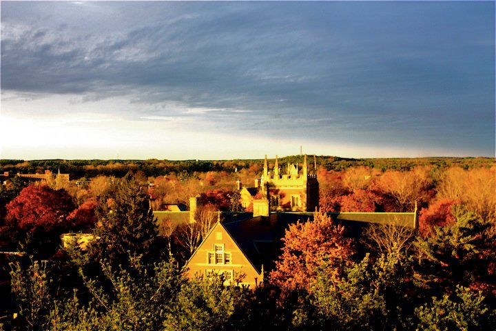 The Bowdoin Campus from an Elevated Point in Autumn of 2010, photograph by user Polarbear 11of Wikimedia Commons