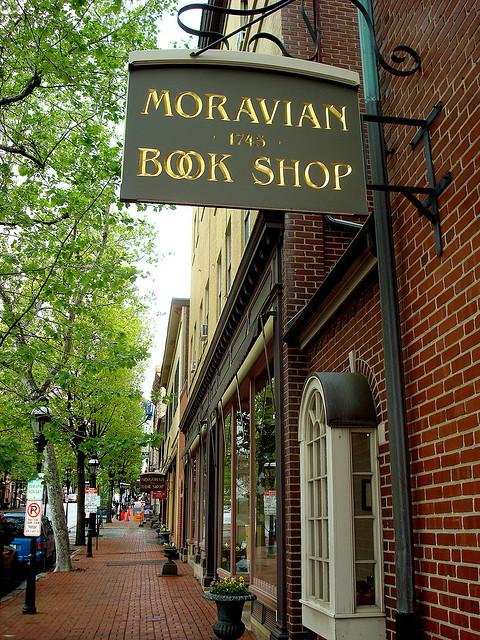 Outside view of Bethlehem, Pennsylvania's Moravian Book Shop.