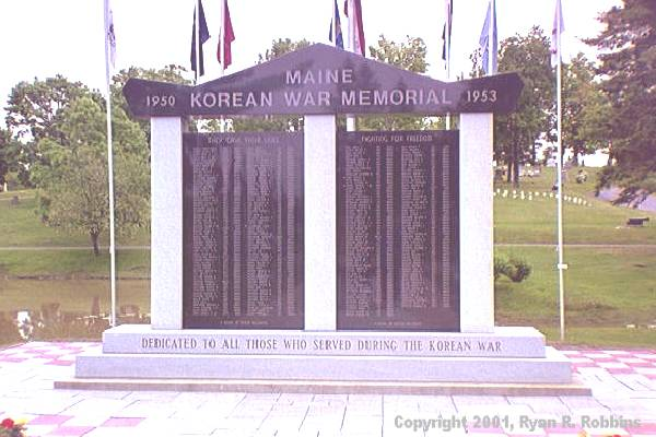 A Photograph of the Mount Hope Korean War Memorial, Provided by bangorinfo.com