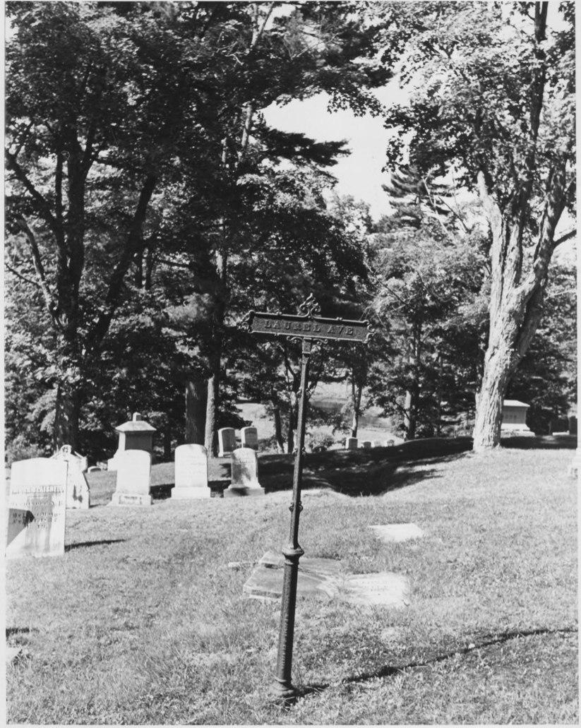 Signpost for Laurel Ave. Within the Cemetery by Earle G. Shettleworth, Jr. on 8/20/74, Public Domain Photo Provided by NPS